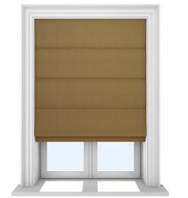 Our Prestige Silk Golden Copper Roman blinds in a living room window
