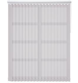A white vertical blind in a bathroom window