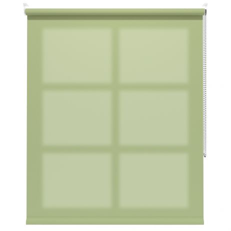 A green dimout roller blind in a window