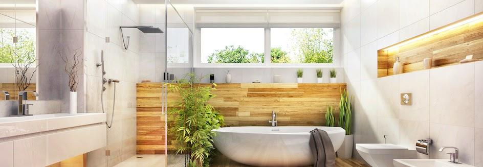 A modern bathroom with roller blinds as the bathroom blinds