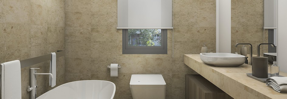 Bathroom with roller blinds on window