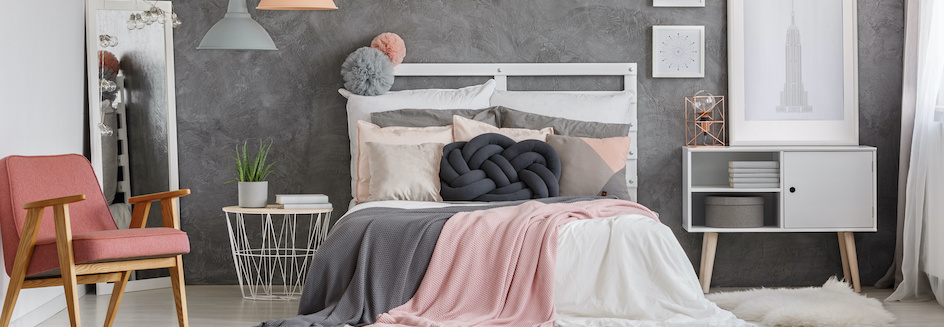 Grey, pink and white bedroom colour ideas