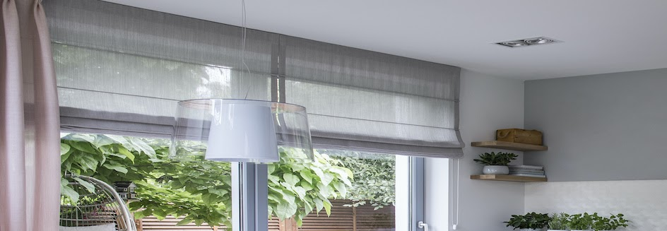Blackout roman blinds in a kitchen