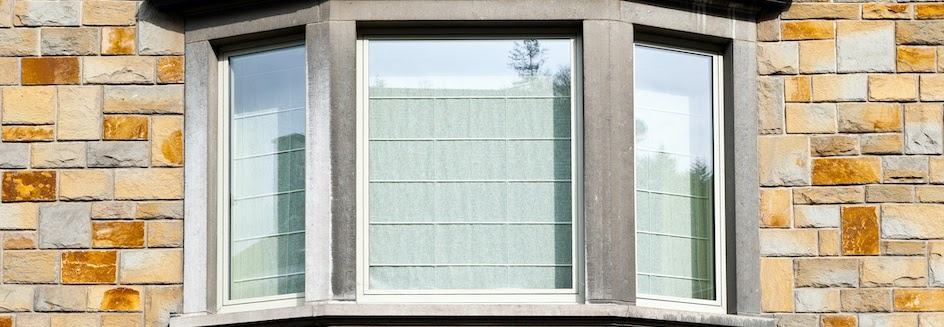 Bay window with blinds closed