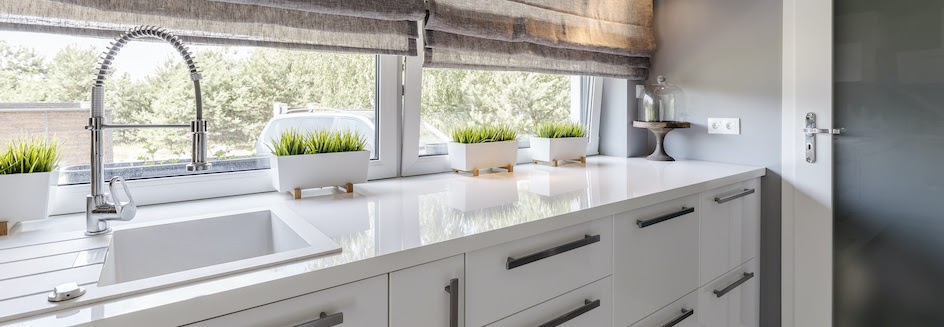 Cheap blinds that look expensive in a kitchen