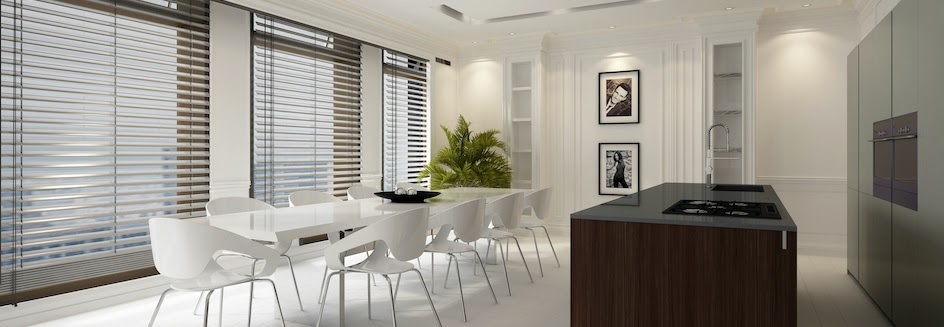 Fitted blinds in a beautiful, modern kitchen