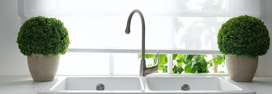 Kitchen blinds and sink with two plants on either side