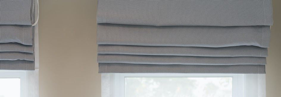 Roman blind rolled up