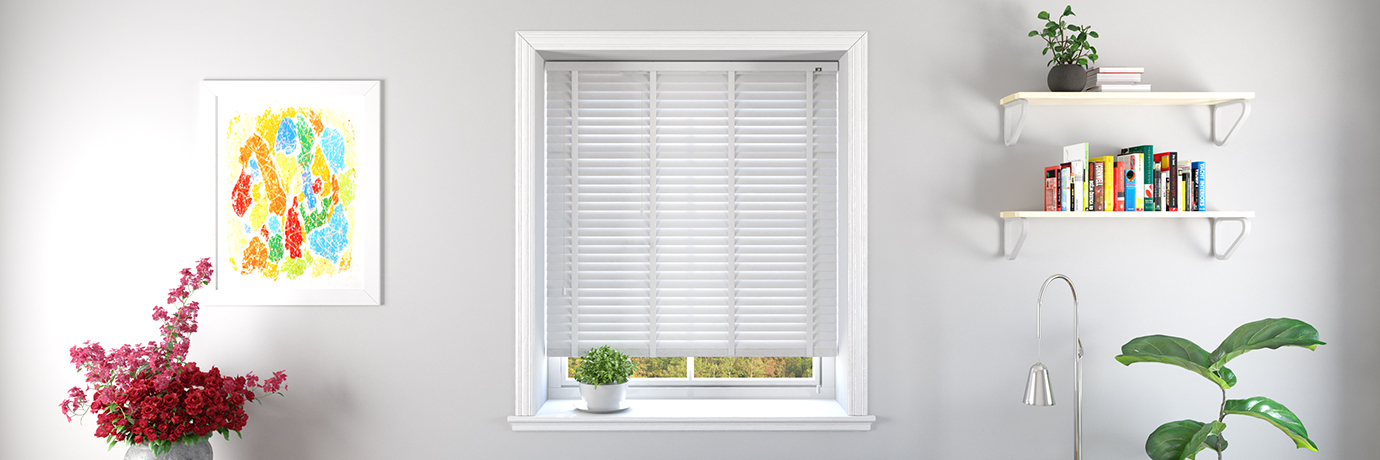Wooden blinds in a clean white home