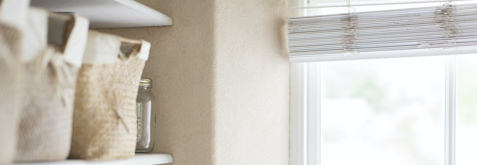 Closeup of farmhouse blinds