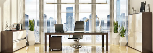 High rise office with venetian blinds