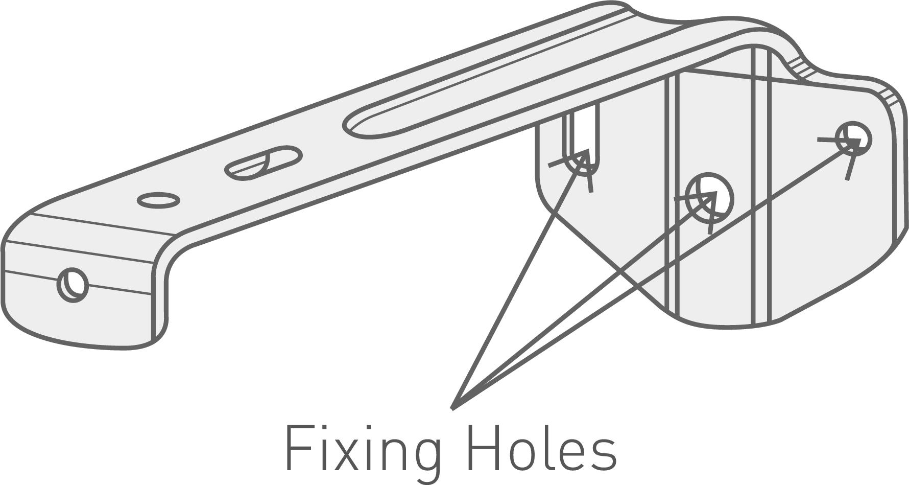 A closeup drawing on a vertical blind bracket