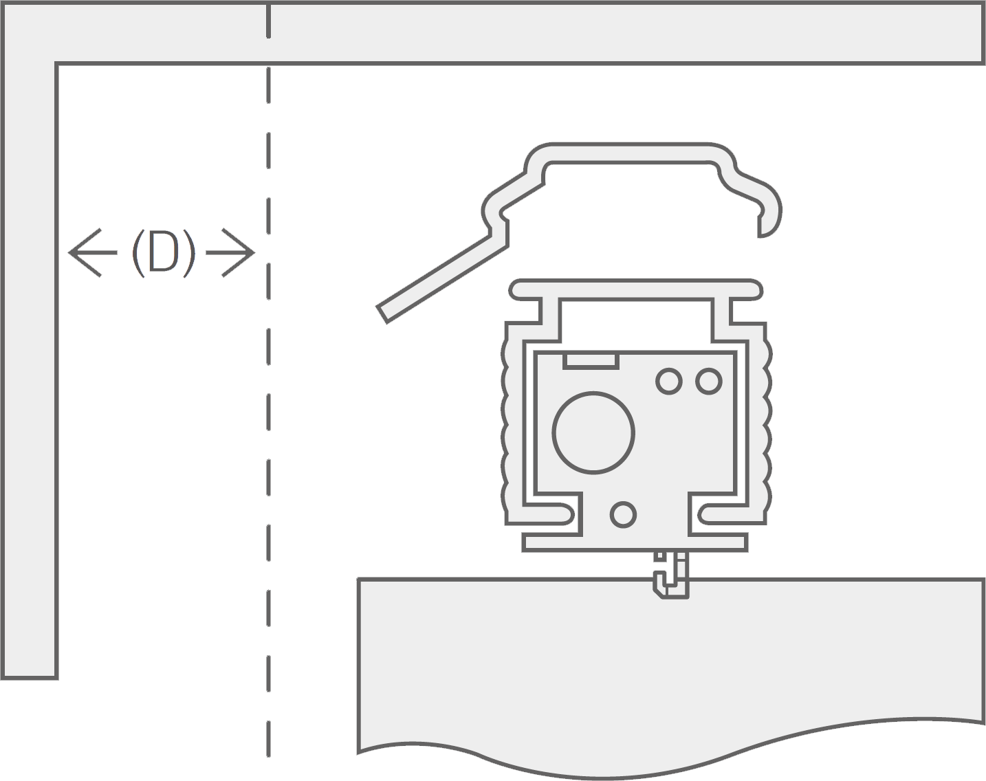 A cross section view of the top of a vertical blind headrail