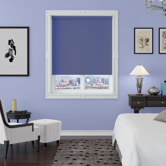 kerry purple blackout roller blind in a bedroom