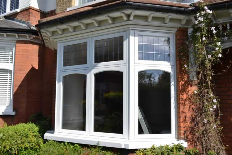 angled bay window from the house exterior