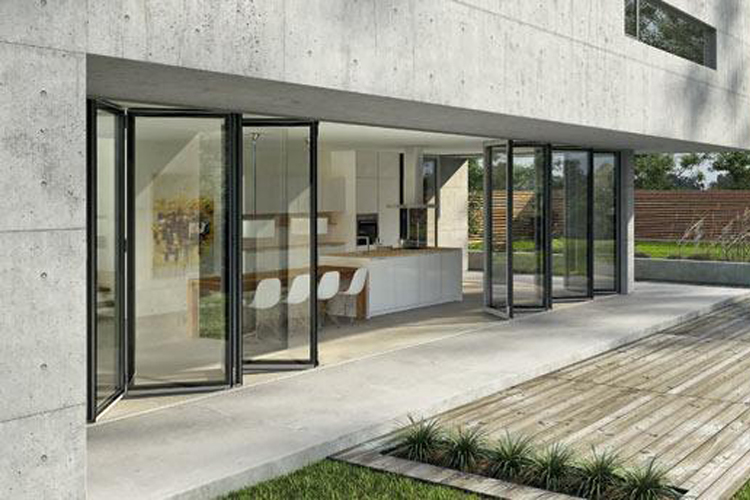 bifold doors leading out from the kitchen to garden