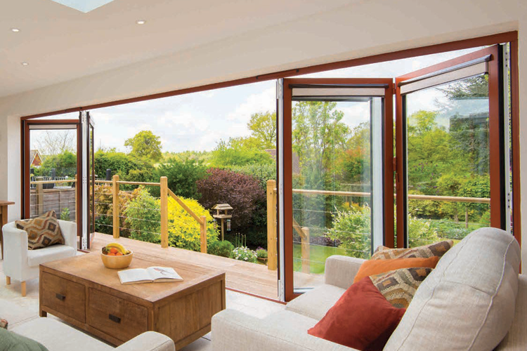 bifold doors out to garden from the living room