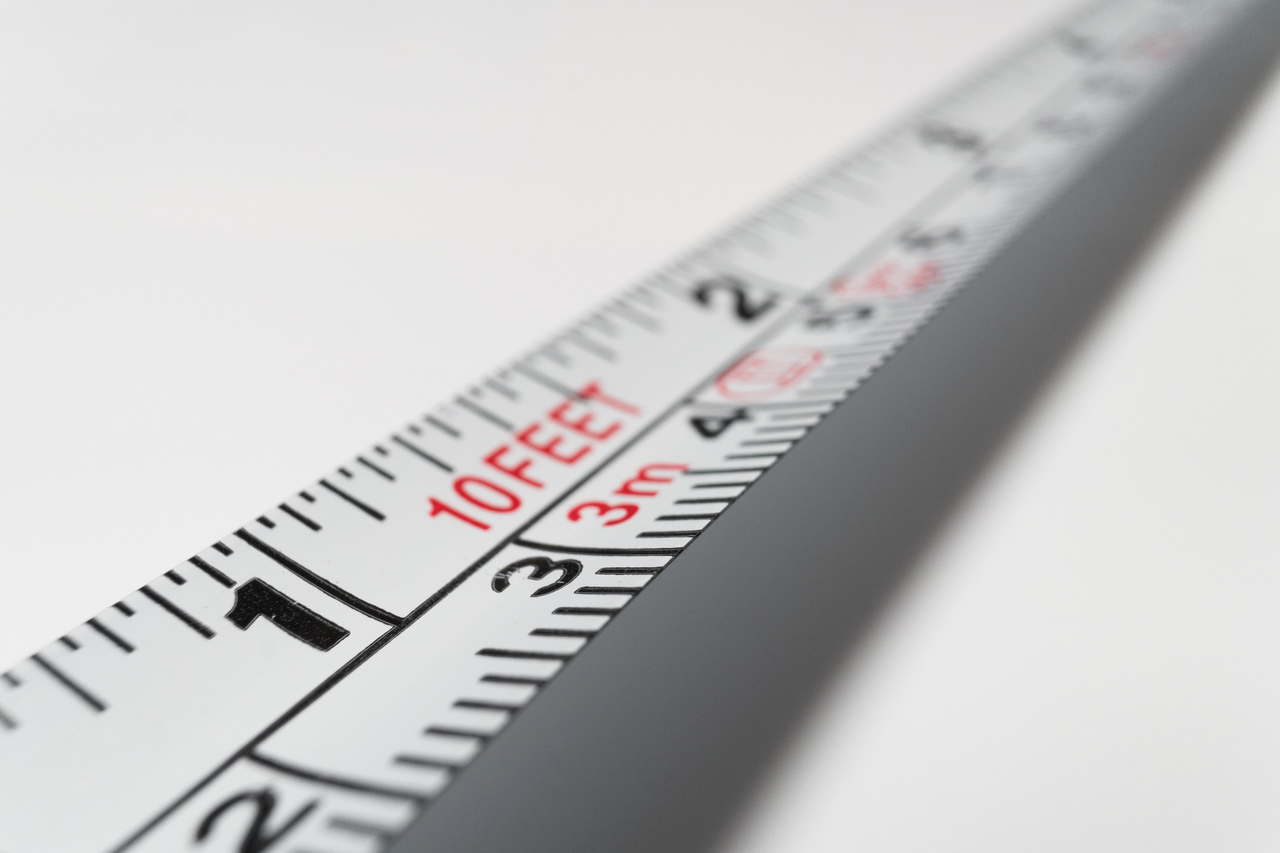 close up of extended tape measure