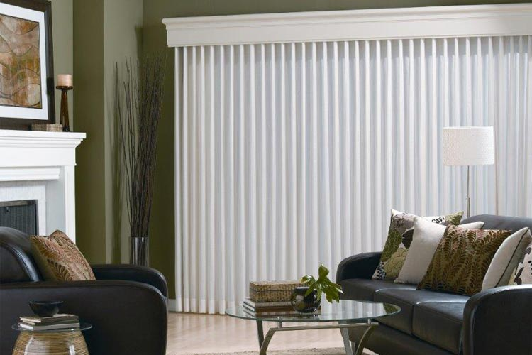 white vertical blinds in the living room