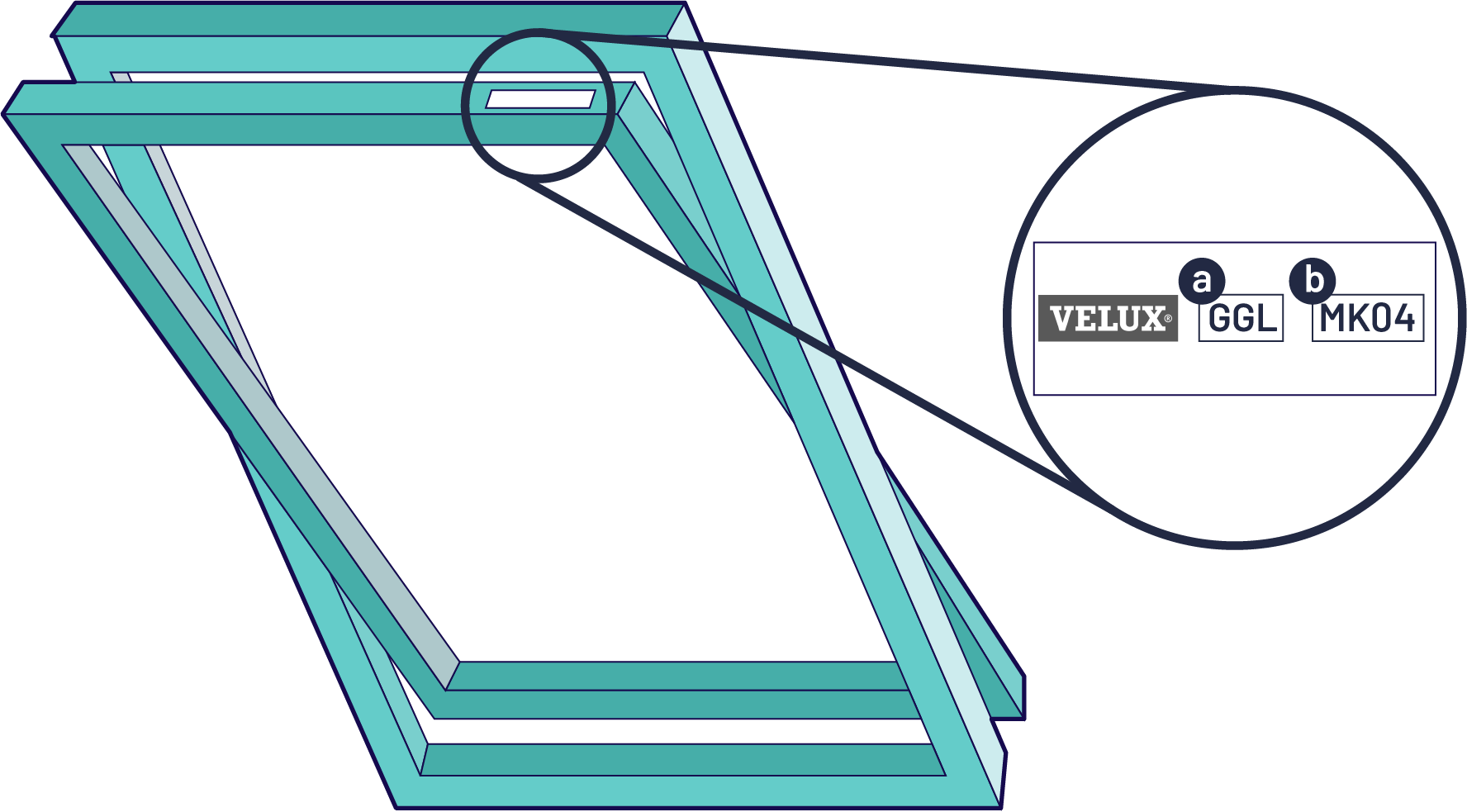 A skylight window showing where to find your velux code