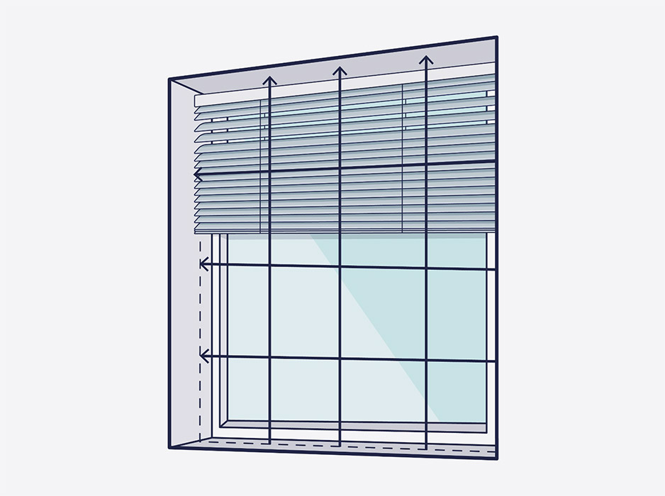A line drawing of a window with arrows showing where to measure inside the recess for a aluminium blind