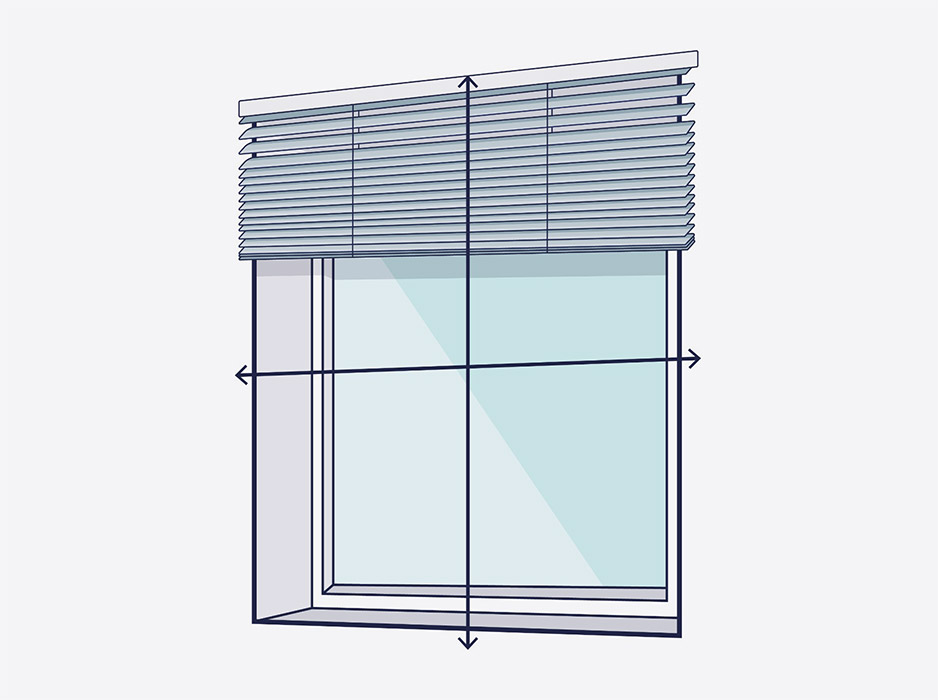 A line drawing of a window with arrows showing where to measure outside the recess for a aluminium blind