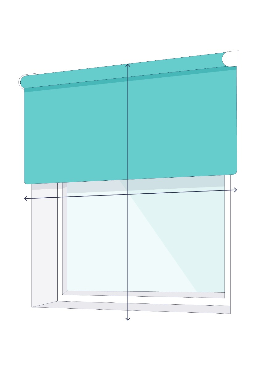 A line drawing of a window with arrows showing where to measure outside the recess