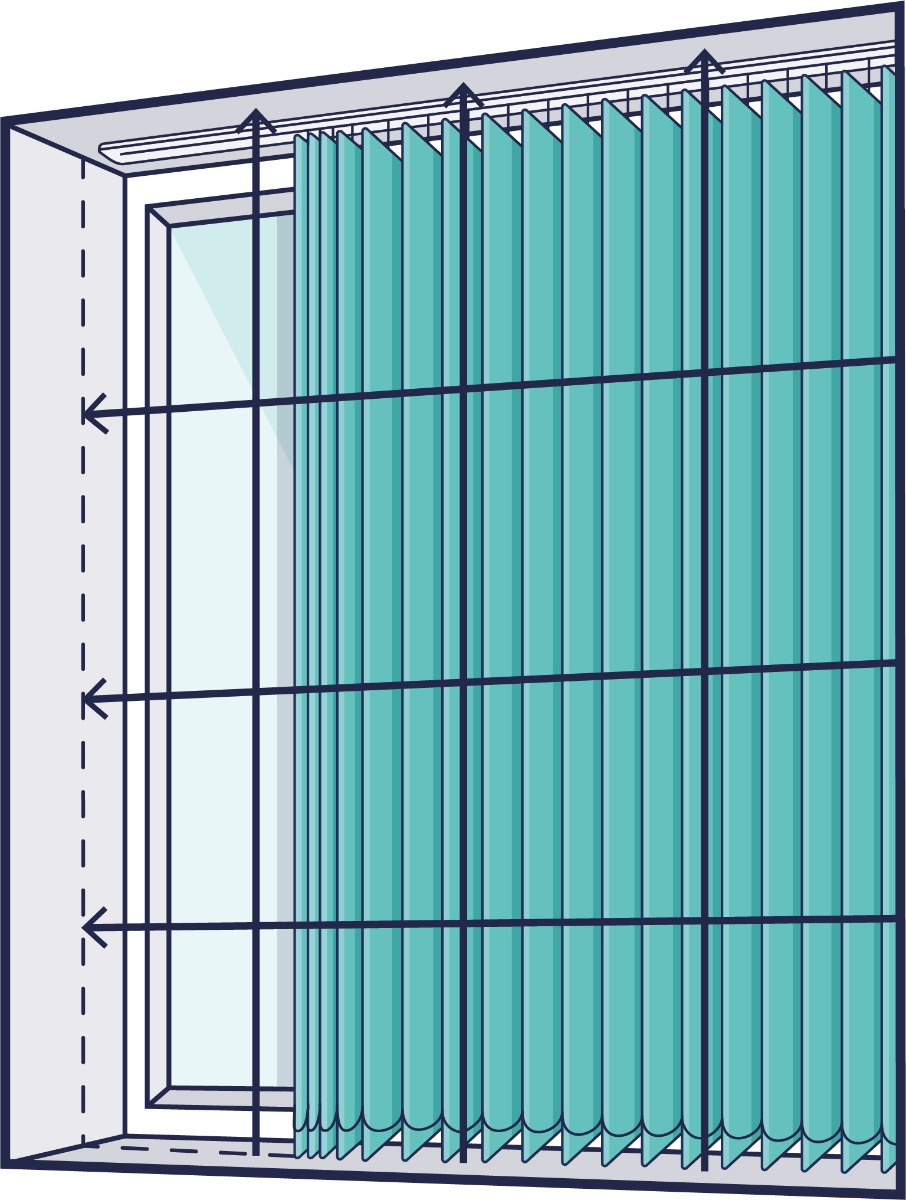 A line drawing of a window with arrows showing where to measure inside the recess for a vertical blind