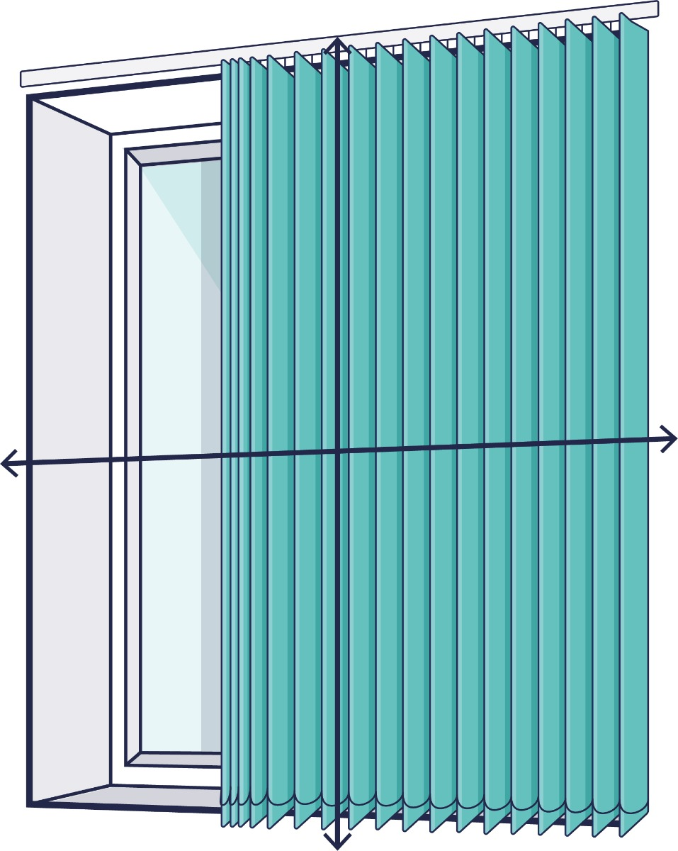 A line drawing of a window with arrows showing where to measure outside the recess for a vertical blind