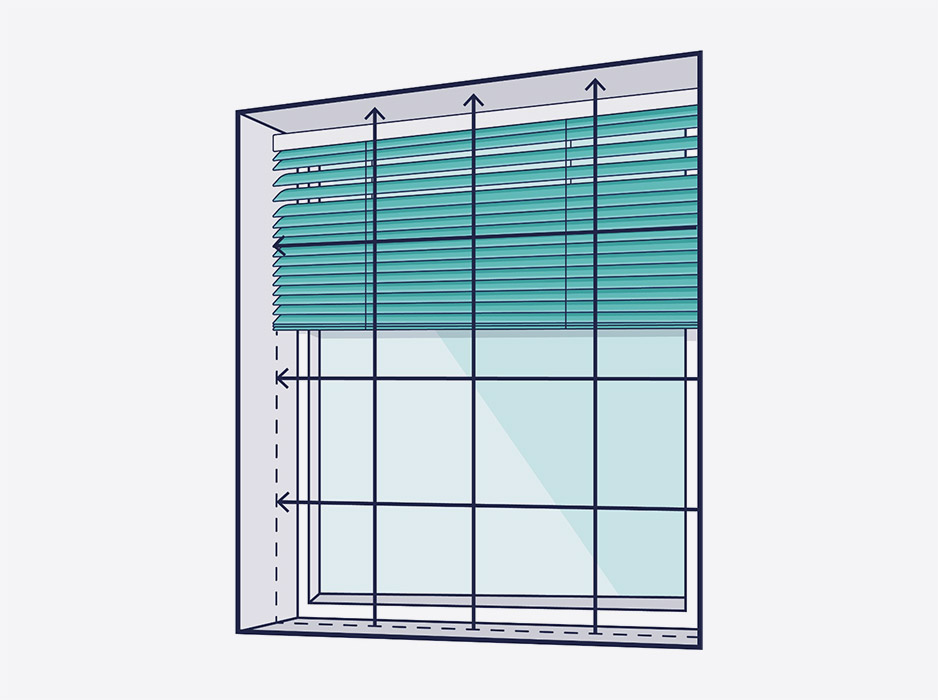 A line drawing of a window with arrows showing where to measure inside the recess