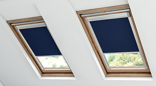 A blue skylight blind in a skylight window