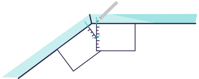 repeat this step for all angles in your bay  for the windows on the outer  edge of the bay simply mark where you'd like your blinds to stop